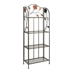 Aspire - Flower Design Metal Baker's Rack - This storage shelf will add life and style to your decor. The accent features multicolored flower accents at the top and is constructed entirely from metal. Metal. Color/Finish: Black. Assembly Required. 68 in. H x 25 in. W x 12 in. D. Weight: 21 lbs.