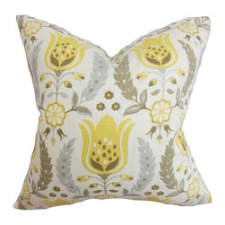 "The Pillow Collection - Eithne Floral Pillow Brown - Create a nature-inspired motif in your living space with this alluring floral throw pillow. This 100% cotton made pillow is soft and plush. It's the perfect accent piece to throw in your sofa, bed or seat. Crafted with a neutral color palette with shades of muted brown, gray, yellow and white, this 18"" pillow is easy to the eyes. Hidden zipper closure for easy cover removal.  Knife edge finish on all four sides.  Reversible pillow with the same fabric on the back side.  Spot cleaning suggested."