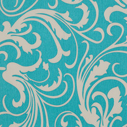 Romosa Wallcoverings - Turquoise Green / Gray Modern Adore Splashy Corsage Wallpaper - - This is a non woven wallpaper. Easy to hang.