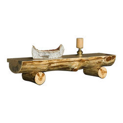 Viking Log Furniture - Rustic Log Fireplace Mantel in Clear Finish (48 in.) - Choose Size: 48 in.. Skip peel on the half log. Clean peeled that a scallops created from a draw knife. Made in the USA. This product is made to order, please allow 4 weeks for custom build. Lifetime warranty. 48 in. W x 14 in. D x 12 in. H. 60 in. W x 14 in. D x 12 in. HThis Log Fireplace Mantel is an example of what can be made for a fireplace setting. The log mantel can have the log power washed so there is no cambium or bark left on the log.