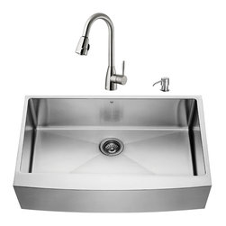 """VIGO Industries - VIGO All in One 36-inch Farmhouse Stainless Steel Kitchen Sink and Faucet Set - Add elegance and style to your kitchen with a VIGO All in One Kitchen Set featuring a 36"""" Farmhouse - Apron Front kitchen sink, faucet, soap dispenser, matching bottom grid and sink strainer."""