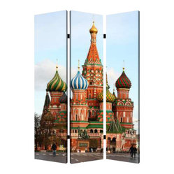 Russia Screen - Journey to Russia without leaving the house. This three-panel, double-sided screen lets you create a sense of intimacy in any open area, and it's made of lightweight canvas to reposition with ease.