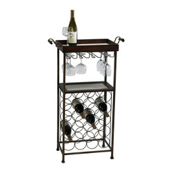 "Kathy Kuo Home - New York Modern Dark Cherry Wood Wine Bar Serving Cart - With room for 20 bottles of your favorite wine and a dozen wine glasses, this dark wood wine stand boasts ample storage and style. Top tray is removable. Traditional details on the frame and handles add a ""vintage"" touch."
