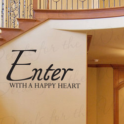 Decals for the Wall - Wall Decal Art Sticker Quote Vinyl Large Entryway Enter with a Happy Heart E01 - This decal says ''Enter with a happy heart''