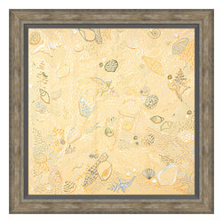 Soicher-Marin - Sea Shells - Giclee print with a traditonal rustic distressed grey wooden frame with a grey linen liner.  Includes glass, eyes and wire. Made in the USA. Wipe down with damp cloth