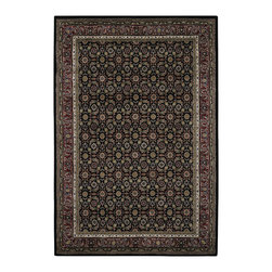 Mandara - Mandara Hand-knotted Traditional Indoor Wool Rug (7'9 x 10'6) - Add a touch of elegance to your home or office with this hand knotted New Zealand wool rug. This rug features shades of ivory,green,burgundy,peach,and brown on a black background.