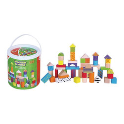 The Original Toy Company - The Original Toy Company Kids Children Play Wooden Blocks - 50 wooden blocks, in combination of solid, natural and multi colors. Handy cardboard barrel with handle and lid. Weighs approximately 6.00 pounds.