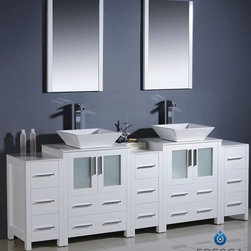 "Fresca - Fresca Torino 84"" Modern Double Sink Bathroom Vanity w/ Three Side Cabinets & Tw - Fresca is pleased to usher in a new age of customization with the introduction of its Torino line. The frosted glass panels of the doors balance out the sleek and modern lines of Torino, allowing it to fit perfectly in both 'Town' and 'Country' décor.The Fresco Torino bathroom vanity is 84"" wide and 35.63"" high, and boasts 18.13"" deep under-sink storage space – perfect for towels and other bathroom necessities. This bathroom vanity is completed with a 20.75"" wide x 31.5"" high x 1.25"" deep wall mounted mirror for optimal function and style.Items included: Main Vanity Cabinet(s), Countertop(s), Vessel/Integrated Sink(s), Mirror(s), Faucet(s), P-Trap and Pop-Up Drain(s), Standard hardware needed for installation.DecorPlanet is proud to offer Fresca Bathroom products. Fresca is a leading manufacturer of high-quality vanities, accessories, toilets, faucets, and everything else to give you the freshest bathroom in the neighborhood. Fresca is known for carrying the latest and most popular styles in modern and contemporary bathroom design that are made with high quality materials and superior workmanship."