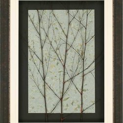 Paragon Decor - Tree on Top Artwork - Simple dried tree limbs provide an eclectic image and become a work of art. Mounted on hand-made sage green paper embossed with leaf motif.