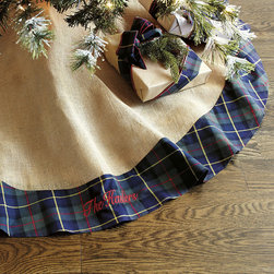 Ballard Designs - Suzanne Kasler Burlap & Mackenzie Plaid Tree Skirt - Coordinates with Suzanne's Burlap & Plaid Stocking. Cotton lined. This year, designer Susanne Kasler created a classic plaid tree skirt especially for us. She took our signature burlap and wrapped it up for the holidays in festive MacKenzie plaid with tie closures. Add a monogram and you've got an instant family keepsake. Suzanne Kasler Burlap & Plaid Tree Skirt features: . . *Monogramming available for an additional charge.*Allow 3 to 5 days for monogramming plus shipping time.*Please note that personalized items are non-returnable