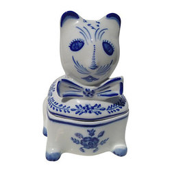 Sweet Portugese Porcelain Box - Cheeky little blue and white lidded cat container. Perfect for stashing odds and ends on your dresser, as an unexpected place to keep your cotton balls or as a bookshelf accent. Marked by the artist on the underside.