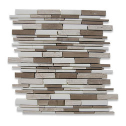 Americana Free Form Cracked Joint Brick Marble Tile - This brick marble tile is both stylish and versatile. The cracked joint aspect lends this tile adaptability to both contemporary and classic looks, so it will fit right in wherever you fancy. Use this tile as a cozy accent to your cottage or a subtle backsplash for cool modern elegance.