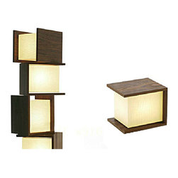 Post Modern Wood And Fabric Shade Table Lamp -