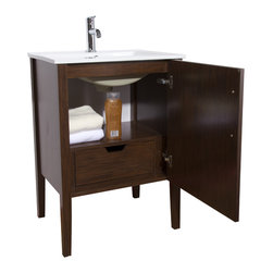 VIGO Industries - VIGO 24-inch Maxine Single Bathroom Vanity, Wenge, With Medicine Cabinet - The VIGO Maxine collection is a modern and assertive addition to any bathroom.
