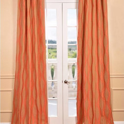 EFF - Elsa Orange Jacquard Curtain Panel - Update your window decorations with this texture-rich and colorful faux-silk,jacquard curtain panel. This colorful curtain panel features a lovely embroidered design.