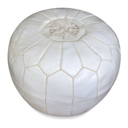 Handmade - Ottoman, White Pouf Ottoman - Add glitz and glamour to your living room with this functional ottoman and furnishing accent.  We are sure it will be the most popular seat or footrest in the house!
