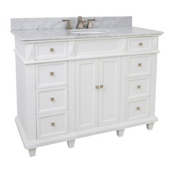 "Hardware Resources - Lyn Design VAN094-48-T-MW - This 48"" wide MDF vanity features a sleek white finish, clean lines and tapered feet to give a modern feel. A large cabinet with two banks of fully functional drawers provide ample storage. This vanity has a 2CM white marble top preassembled with an H8809WH (15"" x 12"") bowl, cut for 8"" faucet spread, and corresponding 2CM x 4"" tall backsplash."