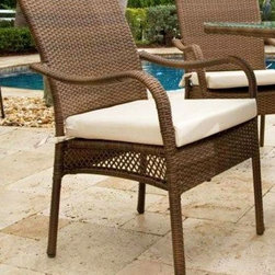 Hospitality Rattan - Grenada Patio Dining Armchair in Viro Antique - Bring a modern, island inspired look to your outdoor living space with the clean, sophisticated design of this aluminum and wicker arm chair, perfect teamed with an outdoor dining table or as a stylish poolside seat. The chair is finished in antique brown and will be a durable, weather resistant addition to your outdoor decor. This product is warranted for outdoor use. Made of Aluminum Frame w All Weather Viro Fiber Wicker. Constructed of an aluminum frame wrapped in woven viro fiber. Cushions are optional on this item. Weather and UV resistant. Viro Fiber antique finish. Matching dining group and pub set available. Stackable design helpful In commercial settings. 24 in. W x 29 in. D x 36 in. H (11 lbs.)The Grenada contemporary patio set has a fully anodized aluminum frame and woven Viro fiber, which gives this collection a unique textured surface. The Grenada Collection does not require cushions. The collection also features frosted tempered glass on all its tables, along with the ability to accommodate an umbrella with the patio dining set. Cushions are optional and are not included.The Grenada Collection has a contemporary, yet tropical feel that offer a clean look for any patio area and the convenience of all-weather wicker. Supported by an aluminum frame wrapped in high quality Viro fiber. This all-weather wicker dining arm chair is incredibly comfortable with or without cushions. The simplicity of the Grenada collection and the versatility really make it an excellent choice for anyone. These chairs are stackable for easy storage. They are also contract quality.
