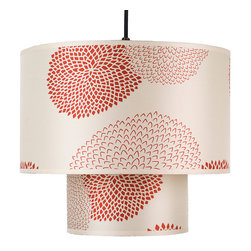 Lights Up! - Deco Medium Pendant Lamp, Red/Orange Mumm - Bold mum flowers come to life on this charming, double-drum pendant lamp. Choose from a neutral or red color palette for a look that'll match your design aesthetic. It's the perfect lighting addition to a bedroom or kitchen nook.