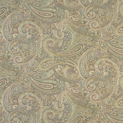 Brown Blue And Green Paisley Contemporary Upholstery Grade Fabric By The Yard - This jacquard fabric is styled contemporary, and is woven for enhanced durability and appearance. This fabric can be used for all indoor residential upholstery uses.