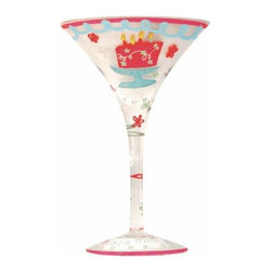 "WL - ""Happy Birthday!"" Martini Glass with Flower Pattern and Cake Design - This gorgeous ""Happy Birthday!"" Martini Glass with Flower Pattern and Cake Design has the finest details and highest quality you will find anywhere! ""Happy Birthday!"" Martini Glass with Flower Pattern and Cake Design is truly remarkable."