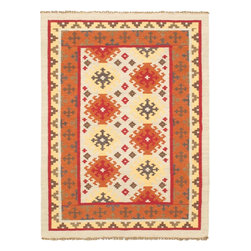 "Torabi Rugs - Flat-weave Kashkoli Kilim Copper Wool Kilim 4'9"" x 6'6"" - Inspirational age old tribal geometric designs from Turkish Yomut, Shirvan, Anatolian and Kurdish tribes. These flat weave 100% wool embroidered rugs are expertly hand woven by skilled artisans. Kilims are lightweight and easily transportable. These bold oriental tribal designs will inspire a variety of interiors e from traditional and contemporary to south western decors."