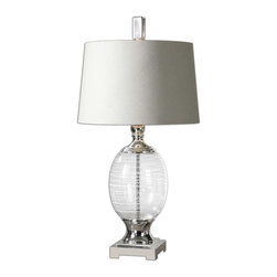 Pateros Swirl Glass Lamp - *The Clear Glass Base Is Accented With White Swirls And Polished Nickel-plated Metal Details. The Round, Tapered Hardback Shade Is Off-white Linen Fabric With Natural Slubbing And A Silver Hardback Liner.