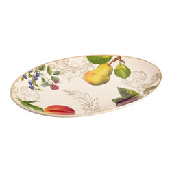BonJour - BonJour Dinnerware Orchard Harvest Oval Platter Multicolor - 54183 - Shop for Plates and Dishes from Hayneedle.com! Don t be surprised if the BonJour Dinnerware Orchard Harvest Oval Platter makes its way to the table for every single meal. After all the straightforward design is wonderfully versatile and the platter is built tough out of stoneware that s microwave freezer and dishwasher safe. And it s even oven safe for up to 30 minutes at 250 degrees. Best of all though is the lush fruit motif which is set against an ivory-finished background with an ochre border. Plus you can coordinate it with other dinnerware in BonJour s Orchard Harvest collection.About Meyer CorporationMeyer Corporation U.S. based in Vallejo Calif. has been one of the fastest-growing cookware companies in the United States and is now the largest distributor of range-top cookware in the country. Meyer Corporation specializes in the distribution of metal cookware and other kitchen products. The cookware is made by Meyer Corporation's own affiliate factories throughout the world; offering different brands enables the company to distribute different levels of cookware. Meyer Corporation's focus is on developing high-quality top-performing cookware using cutting-edge technology and designs. The company offers cookware made from stainless steel hard-anodized aluminum and non-stick aluminum.