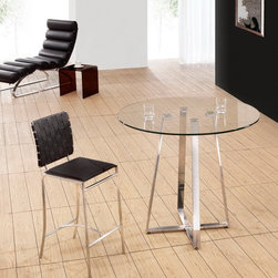 Lemon Drop Counter Height Table with Cross Black Chairs - Lemon Drop is the 3PC Counter Height Set with 2 Criss Cross Black Chairs. The table has a clear tempered glass top and a chrome plated steel frame with cross base designed legs. The chairs feature bi-cast leather seats and weave strap design backs.