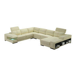 VIG Furniture - T132 Off-White Top Grain Leather Sectional Sofa With Storage and Accent Lights - The T132 sectional sofa is a great choice for any living room that needs a touch of modern design. This sectional sofa comes upholstered in a beautiful off-white top grain Italian leather in the front where your body touches. Skillfully chosen match material is used on the back and sides where contact is minimal. High density foam is placed within the cushions for added comfort. Only solid wood products were used when crafting the frame making it very durable. The sectional features adjustable headrests, a storage cubby and accent lighting making it a very versatile sofa.