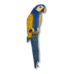 Zeckos - Hand Painted Blue / Yellow Metal Parrot Wall Hook - This beautiful metal parrot wall hook features blue, yellow, white, black and gray enamel paints. It measures 16inches tall, 3 1/4 inches wide and about 1 1/2 inches deep. The hook can hold up to 10 pounds. It'll add a splash of color to any room, and makes a great gift for bird lovers. Note: These are hand-painted, one at a time, and there may be slight differences in color and pattern from the one pictured.