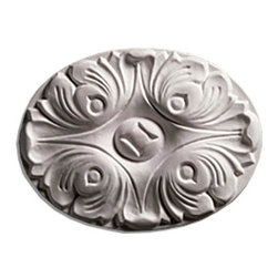 """Inviting Home - Door Trim Oval Rosette Center - door trim decoration 4-1/2""""H x 5-15/16""""W x 9/16""""D Outstanding quality rosette for door and window overhead trim made from high-density furniture grate polyurethane factory primed and ready to be finished with any quality paints. This rosette is lightweight and easy to install using adhesive."""