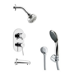 Remer - Contemporary Sleek Tub and Shower Faucet Set with Hand Shower - Multi function tub and shower faucet.