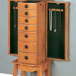 Coaster - Jewelry Armoire w 2 Side Doors - Curvaceous legs. Carved aprons. Storage drawers. Sides swing out and lid lifts up for additional storage. Made from wood. Oak finish. 13.5 in. W x 10 in. D x 37 in. H. WarrantyThis beautiful jewelry armoire complements your jewelry collection with its timeless appeal. Whether the pieces in your jewelry collection are more costume or couture, this collection of jewelry armoires offers a stylish solution that meets all of your storage needs. Dark knobs contrast with the medium oak finish for a delightful presentation that pairs beautifully with casual or traditional bedroom decor.