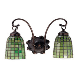 "Meyda Tiffany - Meyda 14.5""W Terra Verde 2-Light Wall Sconce - Honeydew Green glass cascades in a Geometric grid on elongated hand crafted shades which are suspended from the gracefully curved arms of this two light wall sconce finished in Mahogany Bronze."