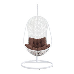 Bestow Swing Outdoor Patio Lounge Chair - Establish your space with the Bestow Outdoor Swing Chair. Sink into the plush all-weather white cushion as you evince both goodness and patience. Allow your ideas to leap outward as you bequeath eminence from an elevated state.