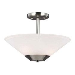 Sea Gull Lighting - Ashburne 2Lt Pendant Brushed Nickel Satin Etc - Ashburne 2-Light Semi-Flush Convertible Pendant in Brushed Nickel with Satin Etched Glass