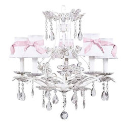 White Cinderella Chandelier w/White Shades & Pink Sashes - 5 Arm White Cinderella chandelier with white shades and pink sashes.