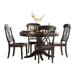 Homelegance - Homelegance Ohana Round Pedestal Dining Table in Black and Cherry - The design of Ohana collection captures the essence of a casual country home. Its antique white and warm cherry, or antique black and warm cherry finishes give it a striking 2-toned appearance.
