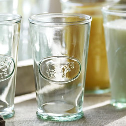 Cow Milk Glass - Wow your guests with these charming cow drinking glasses. They would look darling displayed on open shelving in the kitchen.