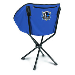 """Picnic Time - Dallas Mavericks Sling Chair in Navy - The Sling Chair by Picnic Time is a portable, folding chair you can take anywhere. The chair opens to 20"""" wide x 14"""" deep x 30"""" high. No loose parts It's so compact and convenient, you may just want to keep it in the trunk of your car!; Decoration: Digital Print; Includes: 1 nylon drawstring carry bag"""
