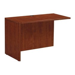 OSP Furniture - Napa Return Shell w Sturdy Top - Commercial grade. Scratch resistant and textured thermally fused laminate surfaces. Non handed. Sturdy 1.13 in. top with tri-groove edge design. Impact resistant 3mm PVC edges. 0.62 in. full modesty panel. Metal fasteners. Wire management grommet. leg levelers. GREENGUARD Indoor Air Quality Certified. Warranty: Ten years. Made from wood. Assembly required. 47 in. W x 23.5 in. D x 29 in. H (85.80 lbs.). Assembly InstructionNapa is built to support todays businesses with solutions for offices, conference and reception areas that provide long-lasting furnishings value. From the executive and managers offices, to multi-person configurations.
