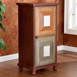Southern Enterprises - Southern Enterprises Camelia Storage Cabinet - Distressed Red Multicolor - HN626 - Shop for Cabinets from Hayneedle.com! Add a colorful flair to any room with the Southern Enterprises Camelia Storage Cabinet - Distressed Red. This storage cabinet features a lovely rustic finish in red with orange and earthy accent panels on the door. The cabinet door has one decorative mirror per panel as well as silver detailing. The inside of this cabinet features two stationary shelves for ample storage. This cabinet is a great option to add storage and Asian inspired flair to the family room bedroom or home office.About SEI (Southern Enterprises Inc.)This item is manufactured by Southern Enterprises or SEI. Southern Enterprises is a wholesale furniture accessory company based in Dallas Texas. Founded in 1976 SEI offers innovative designs exceptional customer service and fast shipping from its main Dallas location. It provides quality products ranging from dinettes to home office and more. SEI is constantly evolving processes to ensure that you receive top-quality furniture with easy-to-follow instruction sheets. SEI stands behind its products and service with utmost confidence.