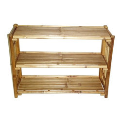 "Bamboo54 - Bamboo 3-Tier Kyoto Rack - Extremely versatile and useful rack for the bath or the study or for small apartments and dorms as well. Measures 36"" L x 15"" W x 25"" H, with 10.5"" height in between shelves. Some assembly required. Matches our 5471 4 tier Kyoto rack."