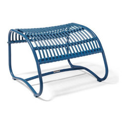Grandin Road - Rizza Outdoor Ottoman - Grandin Road - Retro-modern contoured ottoman. Crafted in the style of traditional rattan, and made to live outdoors. Frame made from colorfully powdercoated, all-weather aluminum. Seat and seat back sculpted from colorful resin strips and strands. Mix and match with all of the Rizza Outdoor Seating Collection and the Rizza Outdoor Sectional. Stretch out on a perfectly contoured outdoor ottoman that offers the same timeless details found in our Rizza outdoor seating. Each ottoman is made in the fashion of traditional rattan, but is crafted from all-weather aluminum that's sculpted and tightly wrapped with colorful resin—so it's made to live outdoors for seasons to come. When it's paired with our Rizza outdoor chair, loveseat, or sectional, the curved, sculpted contour offers a full lounging experience. Select your favorite color and get ready to lounge and relax on the porch or patio all season long.  .  .  .  .  . A Grandin Road exclusive.