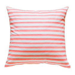 """Caitlin Wilson Textiles - Hawthorne Stripe Pillowcase, 24""""x24"""" - A simple stripe comes to life with delicate watercolor dimension."""