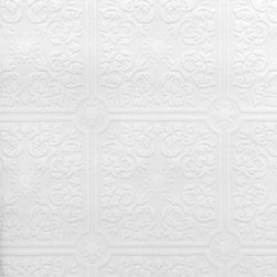 Brewster Home Fashions - Hacienda Tile Texture Paintable Wallpaper Bolt - A paintable textured wallpaper with a lovely tile design. Paint over this wallpaper to achieve your dream look in the perfect color to complement your space. Our paintables can be used on ceilings too and provide affordable solution for hiding surface imperfections.