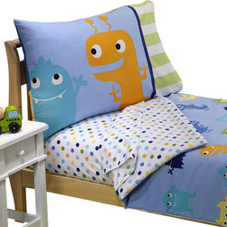 Crown Crafts Infant Products - Monster Toddler Bedding Set Frightful Friends Bed - FEATURES: