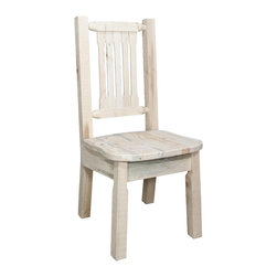 Montana Woodworks - Dining Side Chair - Hand crafted. Sawn square timbers and trim pieces for rustic timber frame design. Ergonomically designed standard wooden seat. Heirloom quality. Solid lodge pole pine. Contoured and comfortable seat. Slat style back increases comfort. Made from U.S. solid grown wood. Lacquered finish. Made in U.S.A.. No assembly required. Seat height: 18 in.. Overall: 19 in. W x 18 in. D x 38 in. H (20 lbs.). Warranty. Use and Care InstructionsFrom Montana Woodworks, the largest manufacturer of handcrafted quality log furnishings in America comes the all new Homestead Collection line of furniture products. This wonderful dining or side chair is as comfortable as it is unique. This chair incorporates the tried and true mortise and tenon joinery system that has served as a symbol of durability for millennia. Each piece signed by the artisan who makes it.