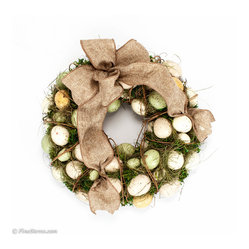 Green and cream spring egg wreath